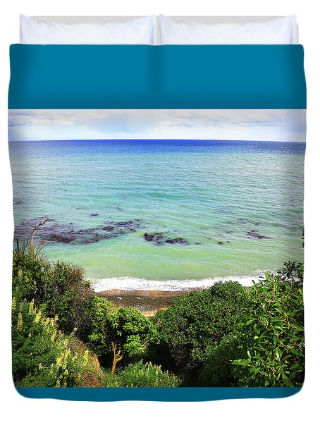 Duvet Cover featuring the photograph Looking Down To The Beach by Nareeta Martin