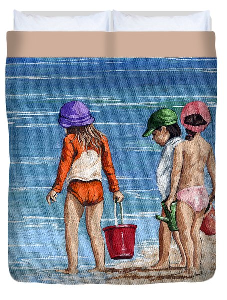 Looking For Seashells Children On The Beach Figurative Original Painting Duvet Cover