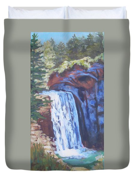 Looking Glass Falls Duvet Cover by Carol Strickland