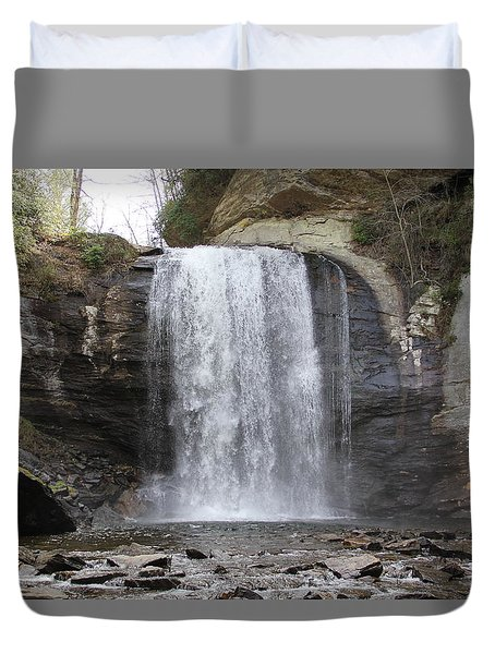 Looking Glass Falls Front View Duvet Cover