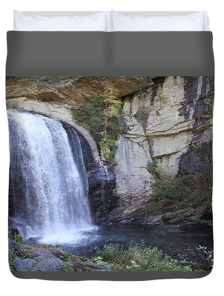 Looking Glass Falls Side View Duvet Cover