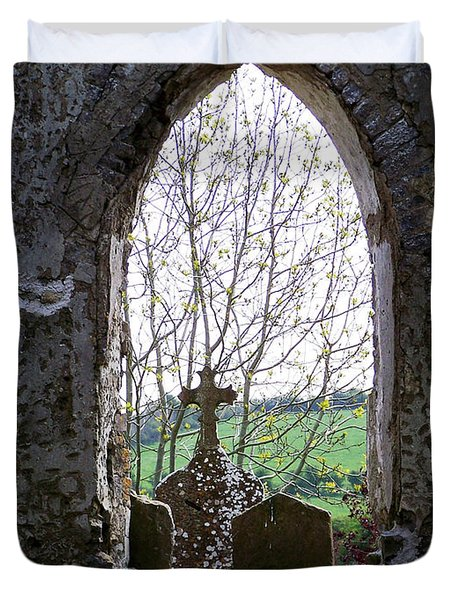 Looking Out Fuerty Church Roscommon Ireland Duvet Cover