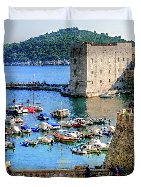 Looking Out Onto Dubrovnik Harbour Duvet Cover