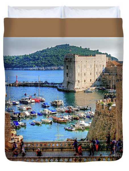 Duvet Cover featuring the photograph Looking Out Onto Dubrovnik Harbour by Lance Sheridan-Peel