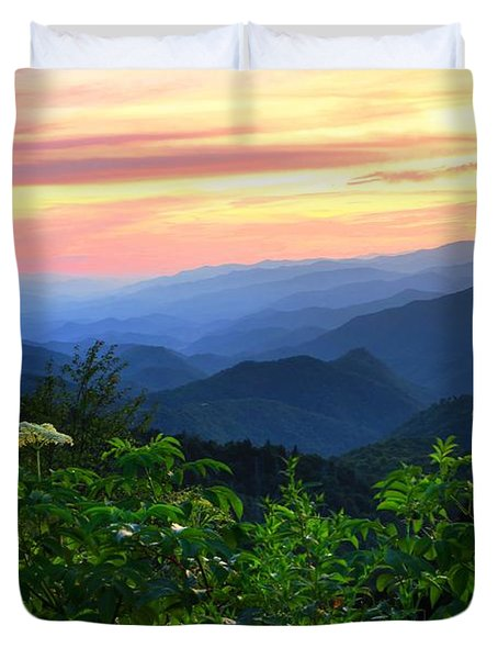 Looking Out Over Woolyback On The Blue Ridge Parkway  Duvet Cover