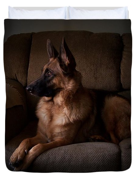 Looking Out The Window - German Shepherd Dog Duvet Cover