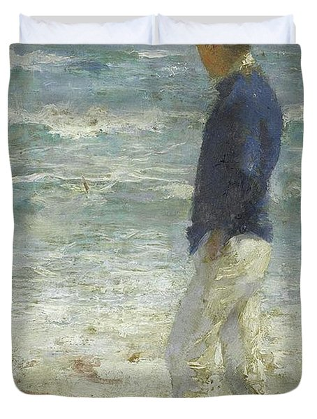 Duvet Cover featuring the painting Looking Out To Sea by Henry Scott Tuke