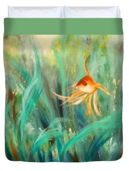 Looking - Square Painting Duvet Cover