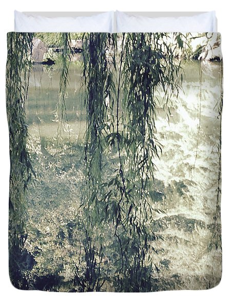 Looking Through The Willow Branches Duvet Cover by Linda Geiger
