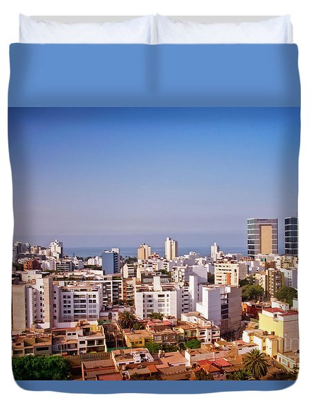 Duvet Cover featuring the photograph Looking Towards The Sea - Miraflores by Mary Machare