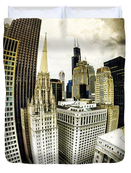 Looking Towards The Southwest And The Sears Tower Duvet Cover