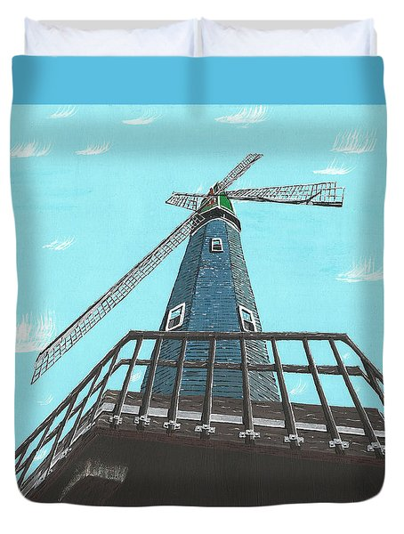 Looking Up At A Windmill Duvet Cover