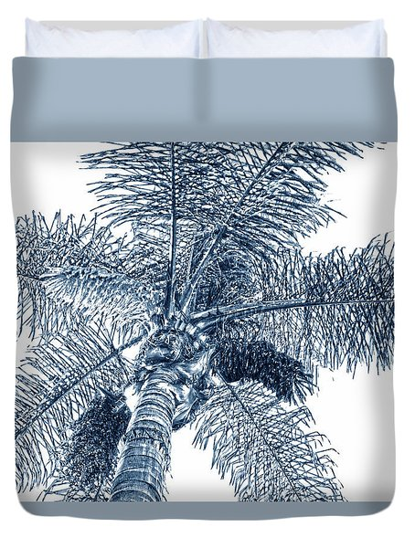 Looking Up At Palm Tree Blue Duvet Cover by Ben and Raisa Gertsberg