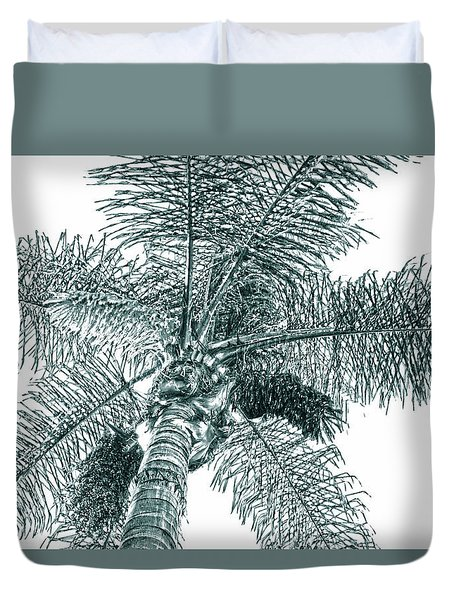 Duvet Cover featuring the photograph Looking Up At Palm Tree Green by Ben and Raisa Gertsberg