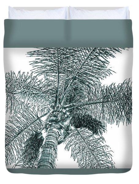Looking Up At Palm Tree Green Duvet Cover by Ben and Raisa Gertsberg
