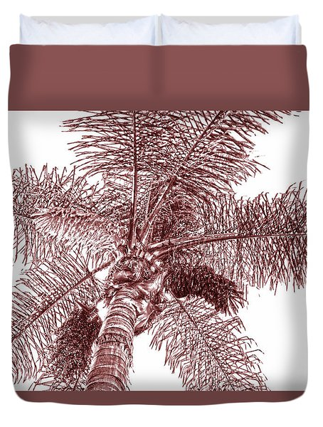 Looking Up At Palm Tree Red Duvet Cover by Ben and Raisa Gertsberg