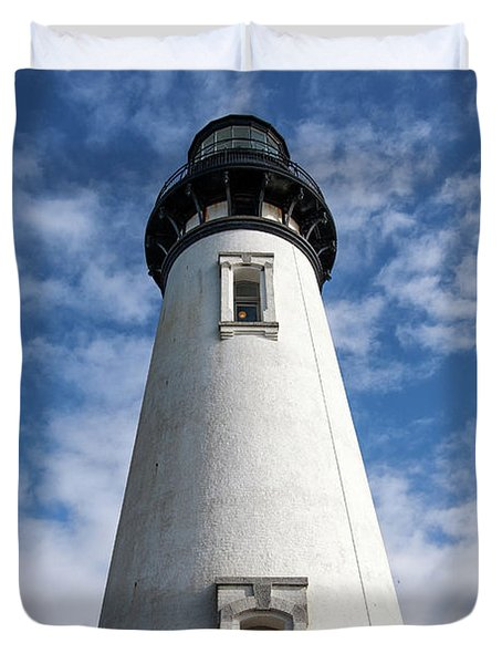 Duvet Cover featuring the photograph Looking Up At The Lighthouse by Mary Jo Allen