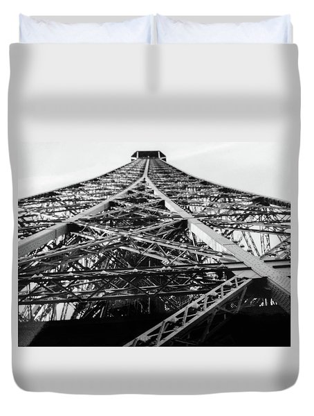 Looking Up From The Eiffel Tower Duvet Cover by Darlene Berger