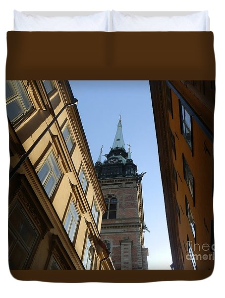 Looking Up From A Stockholm Street Duvet Cover by Margaret Brooks