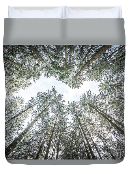 Duvet Cover featuring the photograph Looking Up In The Forest by Hannes Cmarits