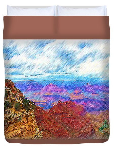 Duvet Cover featuring the digital art Lookout Studio Sketched by Kirt Tisdale