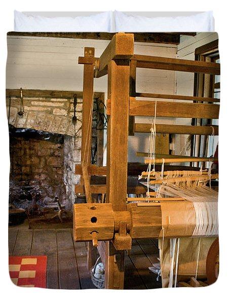 Loom And Fireplace In Settlers Cabin Duvet Cover by Douglas Barnett