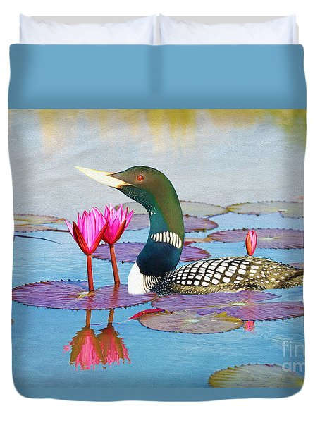 Loon And Lotus Duvet Cover