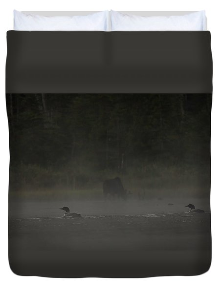 Loon And Moose In The Mist Duvet Cover