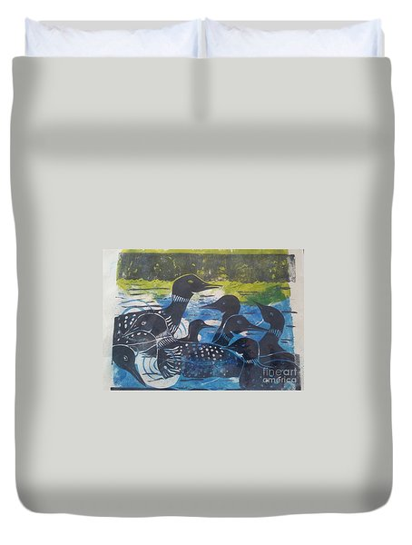 Duvet Cover featuring the mixed media Loon, I See by Cynthia Lagoudakis