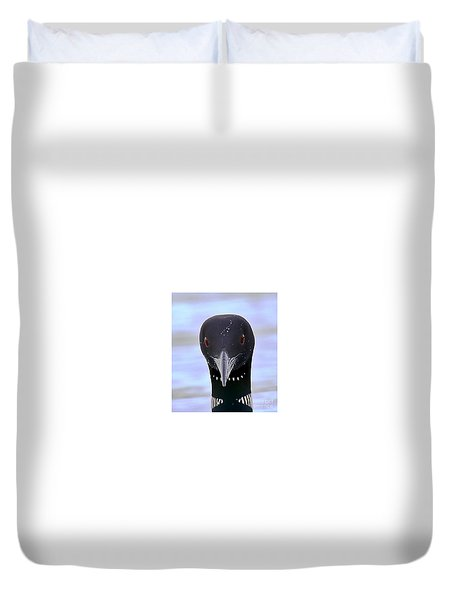 Loon Portrait Duvet Cover by Peter Gray
