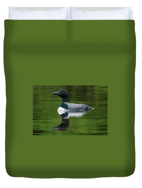 Loon Reflections On The Lake Duvet Cover