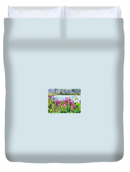Loosestrife Blooming At Sleepy Hollow Pond Duvet Cover