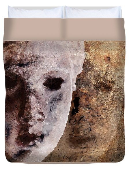 Duvet Cover featuring the digital art Loosing The Real You Behind The Mask by Gun Legler