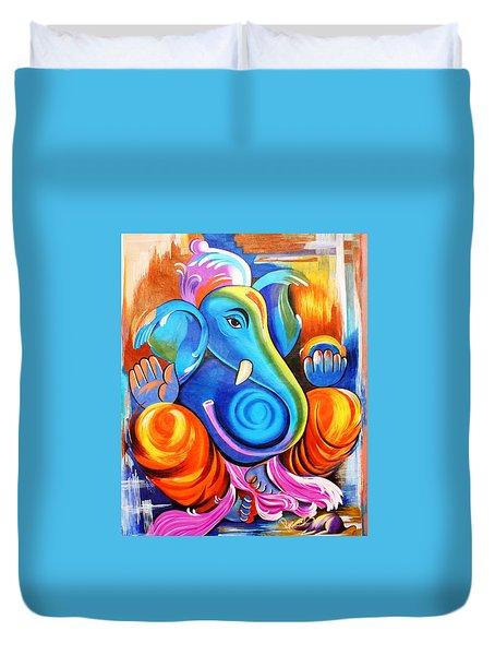 Lord Ganesh  Duvet Cover by Rupa Prakash