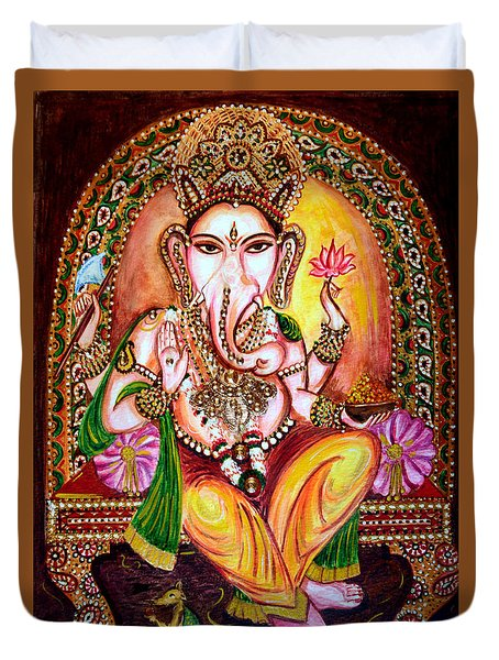 Duvet Cover featuring the painting Lord Ganesha by Harsh Malik