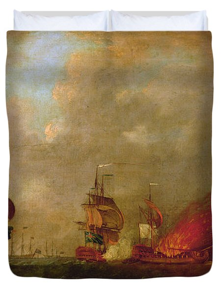 Lord Howe And The Comte Destaing Off Rhode Island Duvet Cover by Robert Wilkins