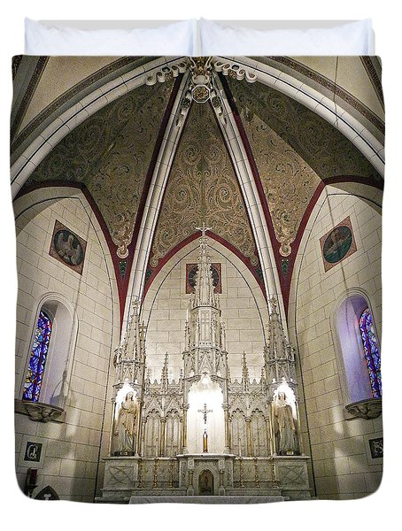 Duvet Cover featuring the photograph Loretto Chapel Santa Fe by Kurt Van Wagner