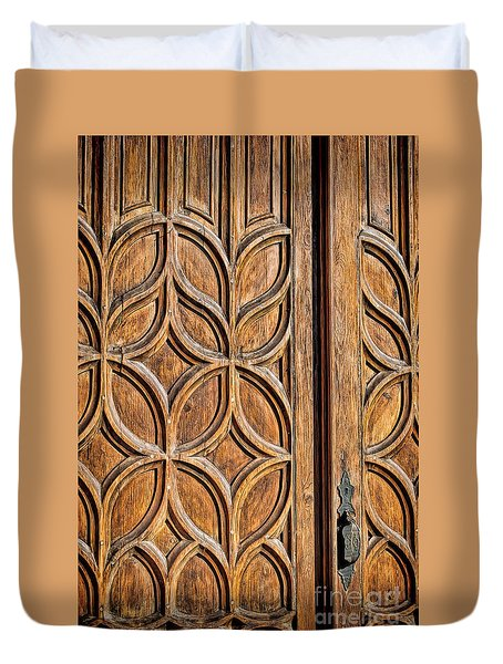 Duvet Cover featuring the photograph Loretto Doorway by Gina Savage