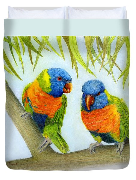 Lorikeet Pair Duvet Cover