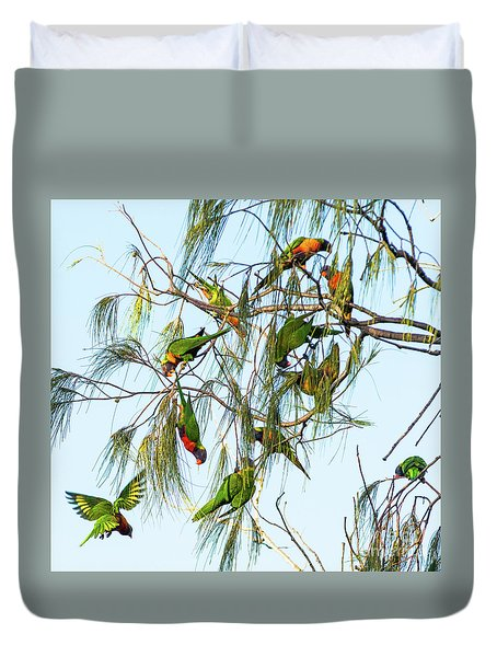 Lorikeets Swarming From Tree To Tree Duvet Cover