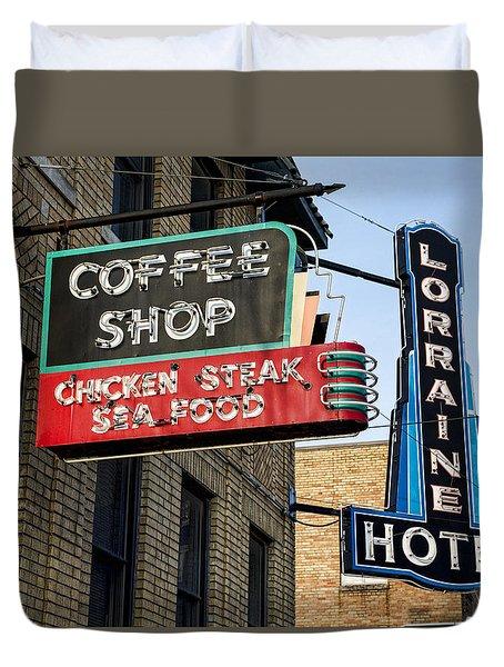 Lorraine Hotel Coffee Shop Duvet Cover