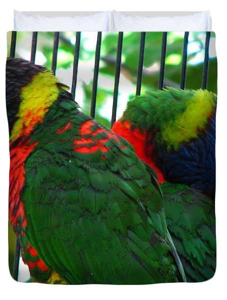 Duvet Cover featuring the photograph Lory by Greg Patzer