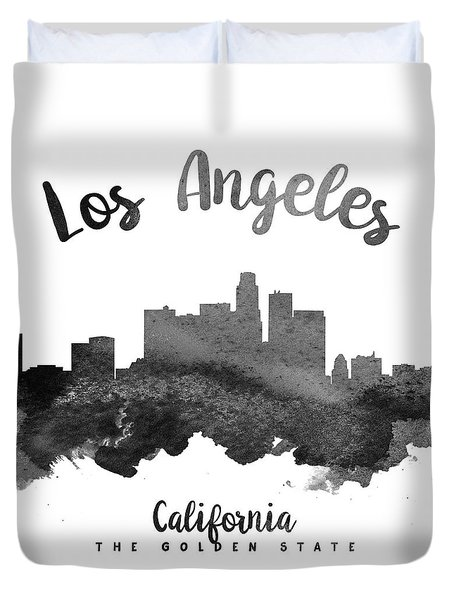 Los Angeles California Skyline 18 Duvet Cover by Aged Pixel