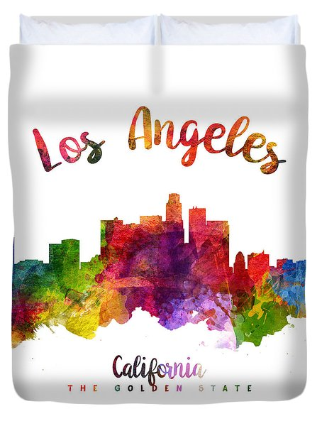 Los Angeles California Skyline 23 Duvet Cover by Aged Pixel
