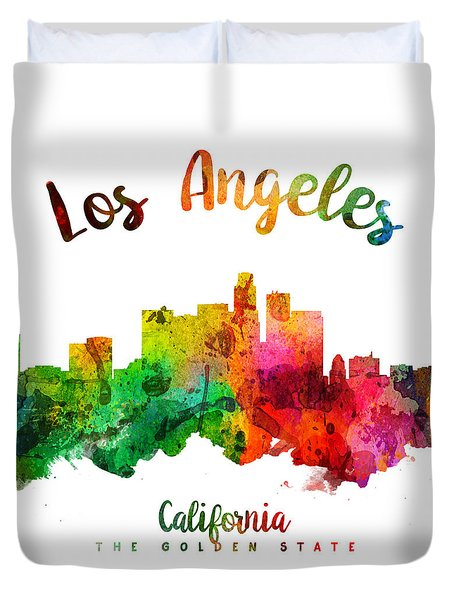 Los Angeles California Skyline 24 Duvet Cover by Aged Pixel