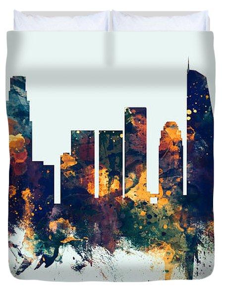 Los Angeles California Skyline Panoramic Duvet Cover