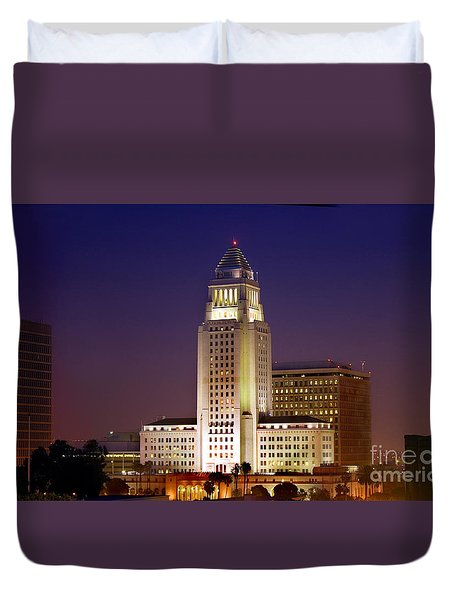 Los Angeles City Hall Building Duvet Cover by Wernher Krutein