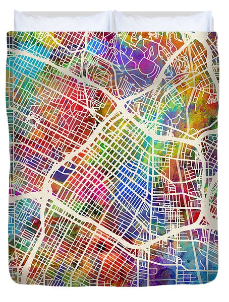 Los Angeles City Street Map Duvet Cover