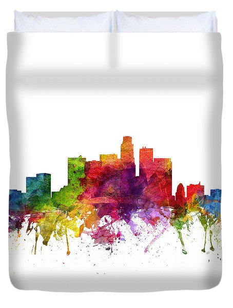 Los Angeles Cityscape 06 Duvet Cover by Aged Pixel