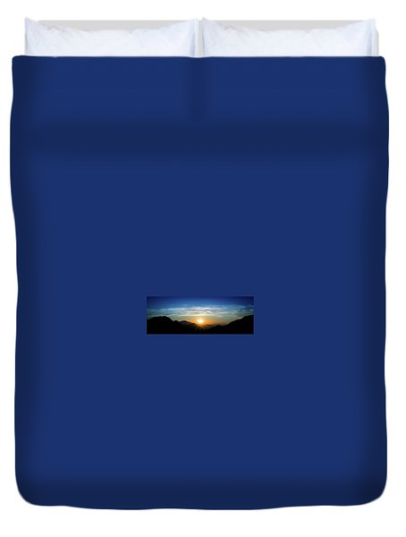 Duvet Cover featuring the photograph Los Angeles Desert Mountain Sunset by T Brian Jones
